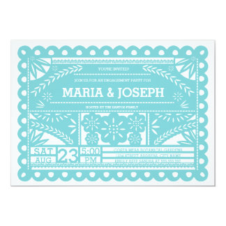 Papel Picado Engagement Party Invite - Blue