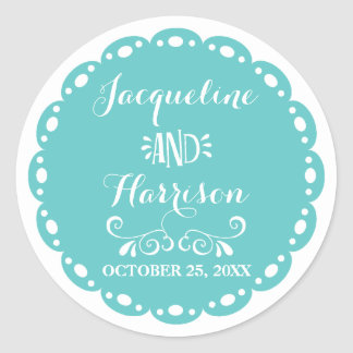 Papel Picado Envelope Seal Aqua Fiesta Wedding