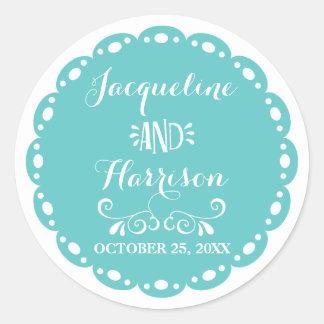 Papel Picado Envelope Seal Aqua Fiesta Wedding Classic Round Sticker