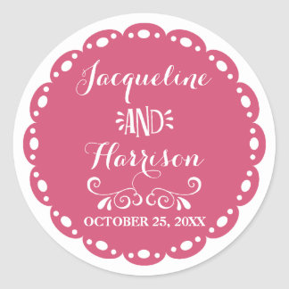 Papel Picado Envelope Seal Hot Pink Fiesta Wedding