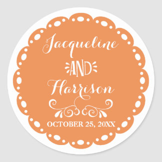 Papel Picado Envelope Seal Orange Fiesta Wedding