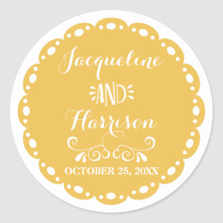 Papel Picado Envelope Seal Yellow Fiesta Wedding