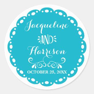 Papel Picado Envelope Seal Yellow Fiesta Wedding Classic Round Sticker