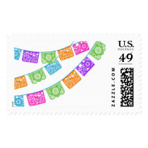 Papel Picado Flags Multicolor Stamp