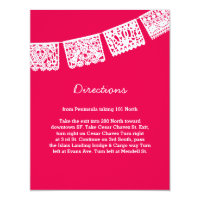 Papel Picado Hot Pink Wedding Directions Card