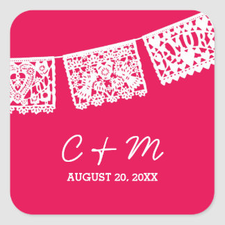 Papel Picado Hot Pink | Wedding Favor Sticker