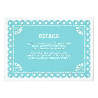 Papel Picado Insert Card - Blue Custom Invites