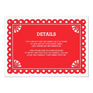 Papel Picado Insert Card - Orange Custom Announcements