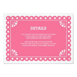 "Papel Picado Insert Card - Pink 4.5"" X 6.25"" Invitation Card"