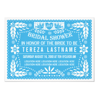 Papel picado love birds blue wedding bridal shower card