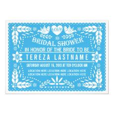 Papel picado love birds blue wedding bridal shower 5
