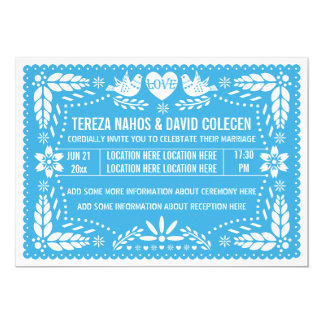 Papel picado love birds blue wedding card