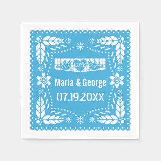 Papel picado love birds blue wedding fiesta napkin