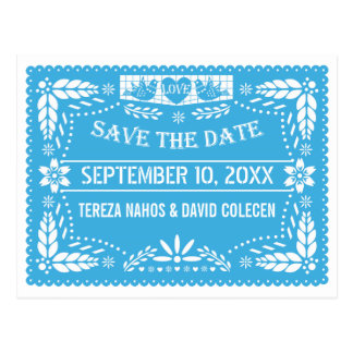 Papel picado love birds blue wedding Save the Date Postcards