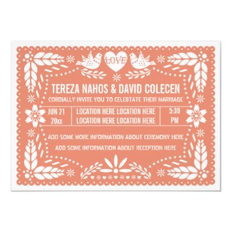 Papel picado love birds coral peach wedding 5x7 paper invitation card