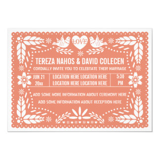 Papel picado love birds coral peach wedding card