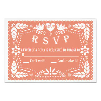 Papel picado love birds coral peach wedding RSVP Card