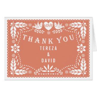 Papel picado love birds coral wedding Thank You Card