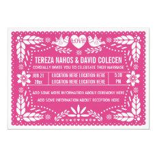Papel picado love birds hot pink wedding 5
