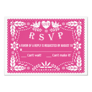 Papel picado love birds hot pink wedding RSVP Card