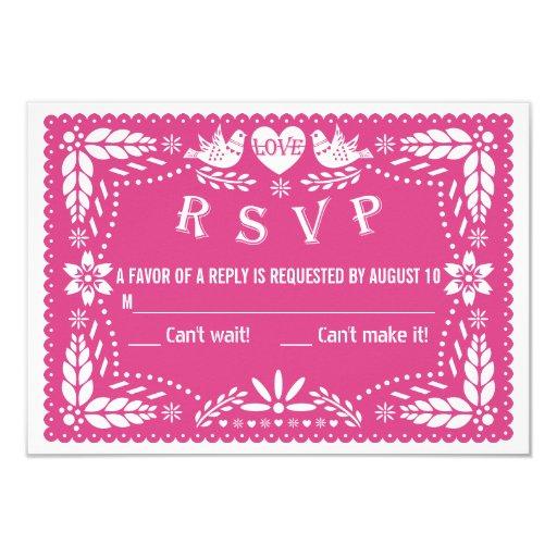 Papel Picado Love Birds Hot Pink Wedding RSVP 35x5 Paper Invitation Card