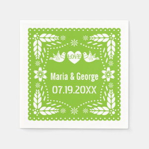 Papel picado love birds lime green wedding fiesta napkin
