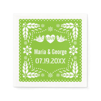 Papel picado love birds lime green wedding fiesta napkin