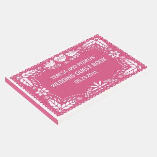 Papel picado love birds pink wedding guest book