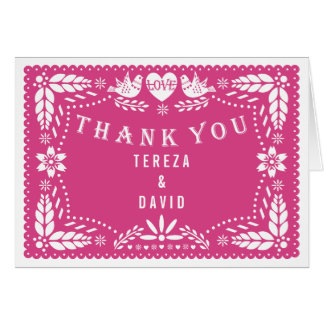 Papel picado love birds pink wedding Thank You Card