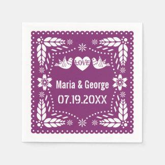 Papel picado love birds purple wedding fiesta paper napkin