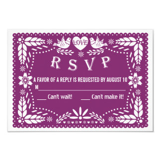 Papel picado love birds purple wedding RSVP reply Card