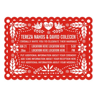 Scalloped Papel Picado Wedding Invite Red Zazzle Com
