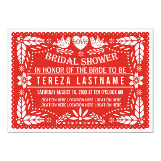 Papel picado love birds red wedding bridal shower card