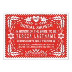 Papel picado love birds red wedding bridal shower 5