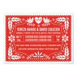 Papel picado love birds red wedding card
