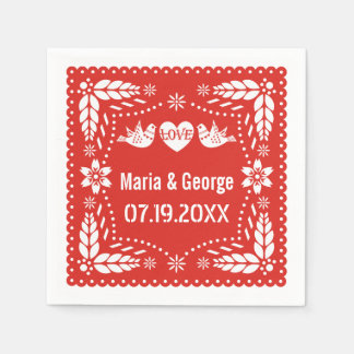 Papel picado love birds red wedding fiesta paper napkin