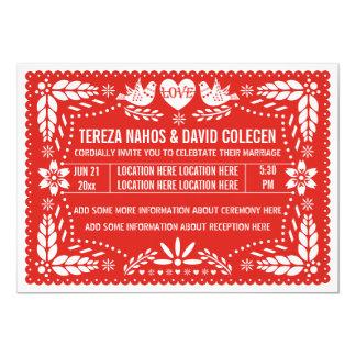 """Papel picado love birds red wedding 5"""" x 7"""" invitation card"""
