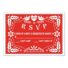 Papel picado love birds red wedding RSVP reply 3.5