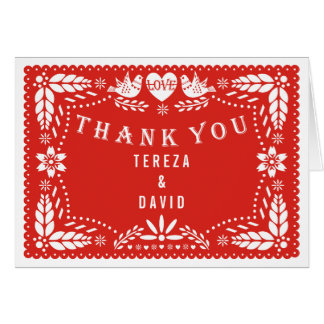 Papel picado love birds red wedding Thank You Card