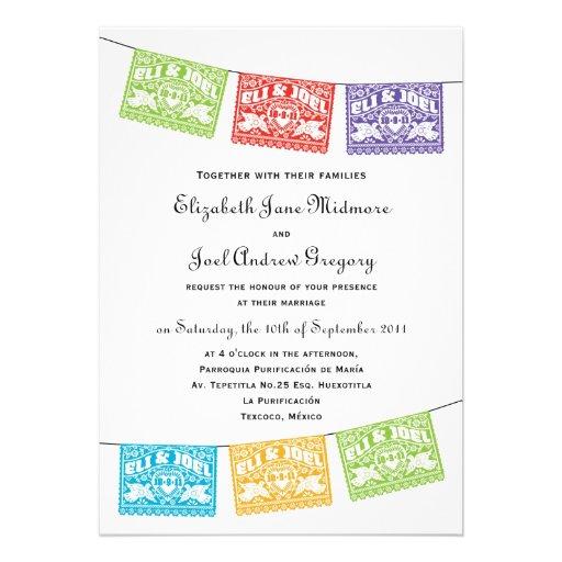 Papel Picado Love Birds Wedding Banners Invitation 5 X 7 Invitation Card