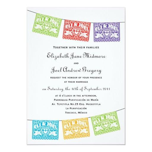"Papel Picado Love Birds Wedding Banners Invitation 5"" X 7"" Invitation Card"