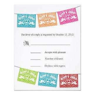 "Papel Picado Love Birds Wedding Banners RSVP 4.25"" X 5.5"" Invitation Card"