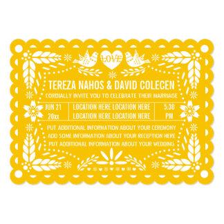 Papel picado love birds yellow fiesta wedding card