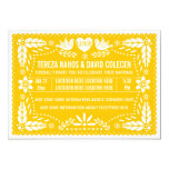Papel picado love birds yellow wedding card