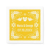 Papel picado love birds yellow wedding fiesta napkin
