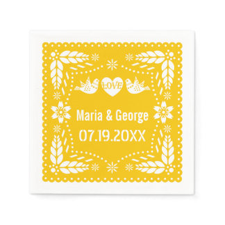 Papel picado love birds yellow wedding fiesta napkin