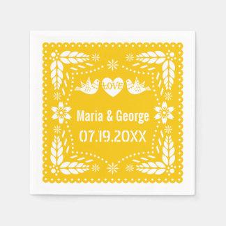 Papel picado love birds yellow wedding fiesta standard cocktail napkin