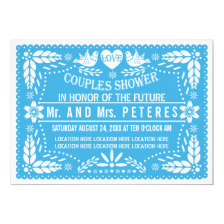 Papel picado lovebirds blue wedding couples shower card