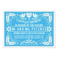 Papel picado lovebirds blue wedding couples shower 5