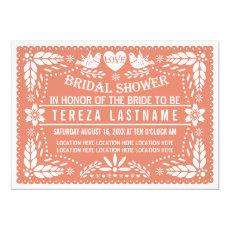Papel picado lovebirds coral wedding bridal shower 5